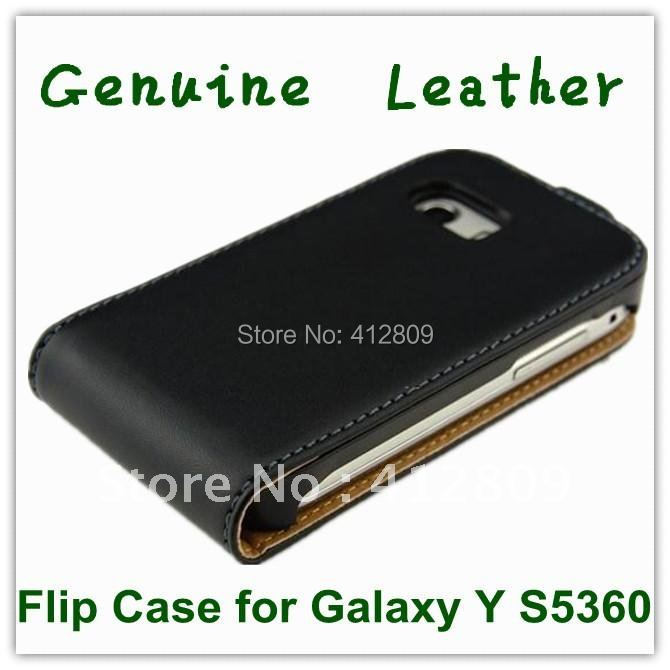 EMS/DHL Free 100PCS Black Genuine Leather Flip Cover Flip Case for Samsung Galaxy Y S5360 with Invisible Magic Snap(China (Mainland))