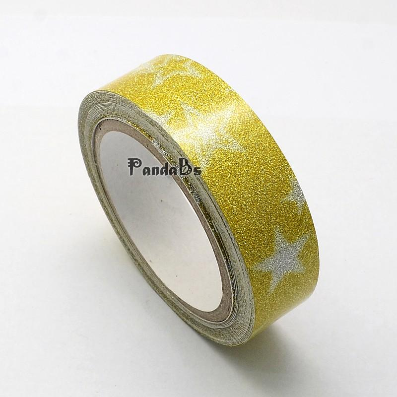 Pattern Printed Cotton Ribbon, with Glitter Powder, and Adhesive Tape on the Other Side, 15mm; about 4m/roll, Goldenrod, 15mm;(China (Mainland))