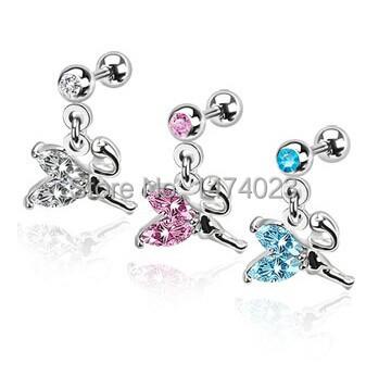 2014 fashion jewelry flower GEM dangle steel earrings industrial taper piercing wholesale price 1.2*8*5*5(China (Mainland))