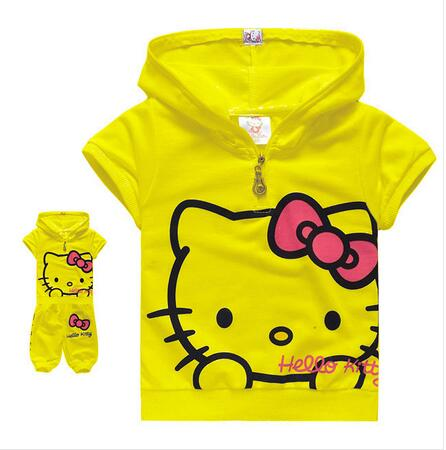 2016 free ship Children's Clothing Set cute hello kitty kids short sleeve T-shirt + pants children/kids suit, kids clothes(China (Mainland))