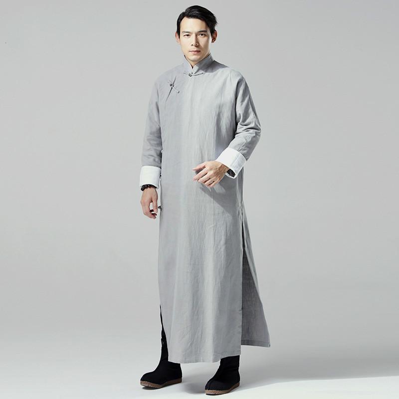 Chinese Traditional Dress Мужчины Белье Длинные Халаты Черный Серый Hanfu Dress Плюс Размер Китайская Одежда Ретро Халат Человек Долго Траншеи пальто