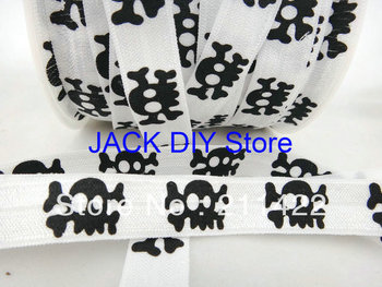 Free Shipping 50yards Halloween Skull FOE Fold Over Elastic 1.5cm Foldover elastic for headband Hair Accessories