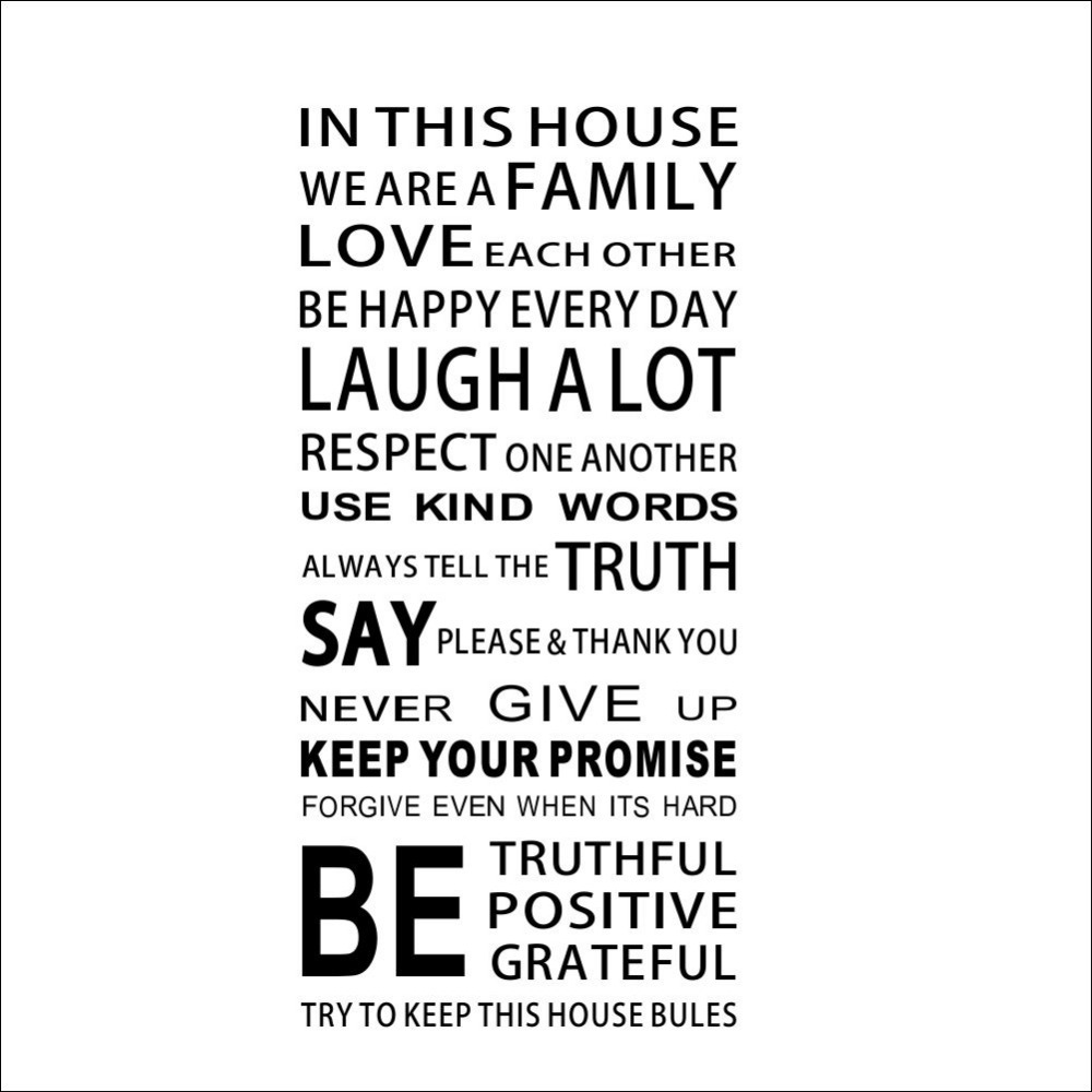In This House We Are A Family Removable Wall Stickers Home ...