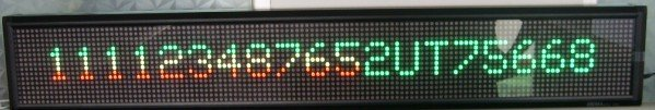 P7.62mm indoor used led screen,red and green color;16*128mm Pixel Resolution;size:160*1008*80mm;1 lines words;P/N:M500N-16*128RG
