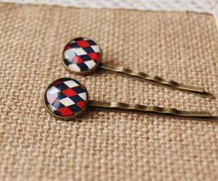 12pairs/lot Preppy Red Navy White Rhombus Scotland Grid Hair Accessories for School Girl Antique Bronze Hair Clip Barrette fq019(China (Mainland))