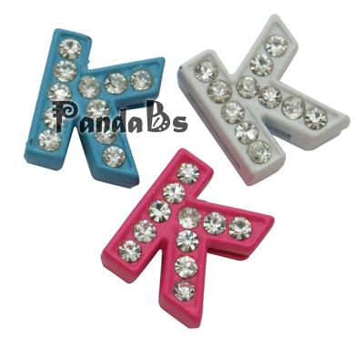 Rhinestone Slide Letter Charms, Alloy Alphabet Beads, Letter K for DIY Bracelet Making, Mixed Color, about 10mm wide, 12mm(China (Mainland))