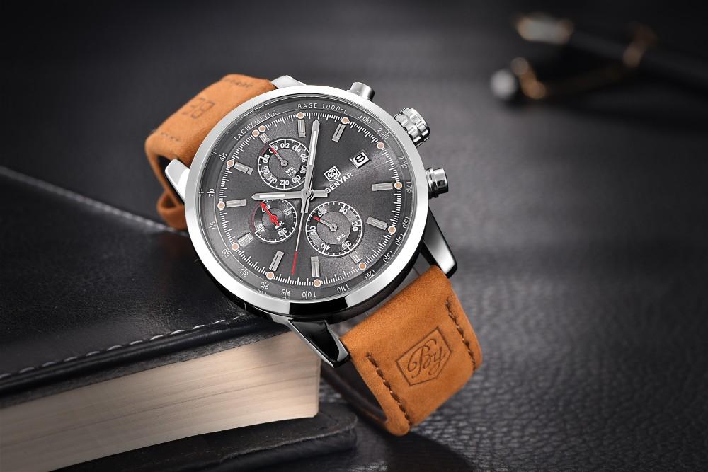 BENYAR relogio masculino Uhr Männer Military Quarzuhr Chronograph Herrenuhren Top-marke Luxus Leder Sport Armbanduhr
