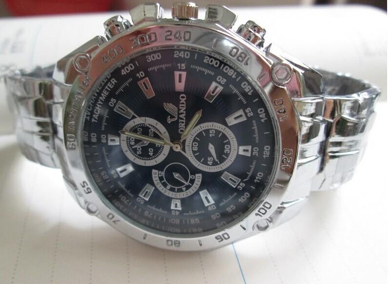 10pcs/lot Classical Orlando Quartz watch men boy steel sports watch mechanical wrist watches 3 eyes  free shipping<br><br>Aliexpress