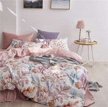 29Color Luxury Egyptian Cotton Bedding Set Queen King size 3d Flamingo Leaf Duvet Cover Bed sheet set Fitted sheet parure de lit(China)