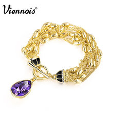 Viennois New Fashion Jewelry Gold Plated Alloy Austrian Rhinestone Luxury Purple Crystal for Women Chain Bracelet and Bangles(China (Mainland))