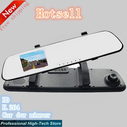 HD 2.7 inch Mirror Monitor Motion Detection G-sensor Car Rear View Camera Backup Parking Reverse Camera Free Shipping