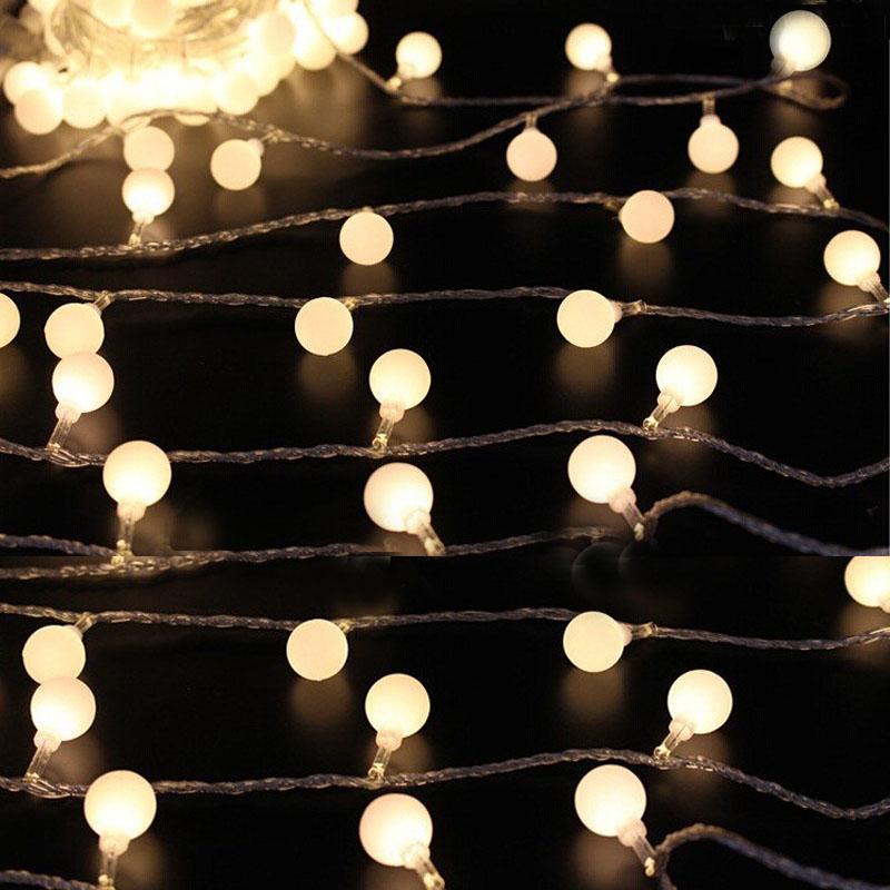 Novelty 10M 50 LEDs Festoon Party Ball string lamps led string bulb lights Christmas Lights fairy wedding garden garland EU 220(China (Mainland))