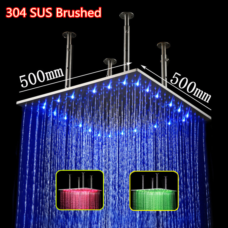 square rainfall brushed stainless steel 20 inch rain hydro power led bathroom shower head - Bella- zhao's store