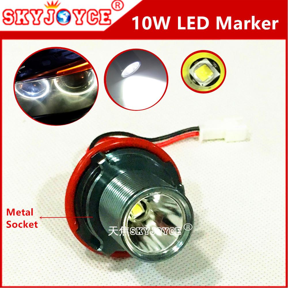 2XFreeshipping xenon white 6500K drl LED MARKER light E39 10W marker led angel eye halo ring E39 E60 E63 E65 E61 E87 E83 E53 led(China (Mainland))