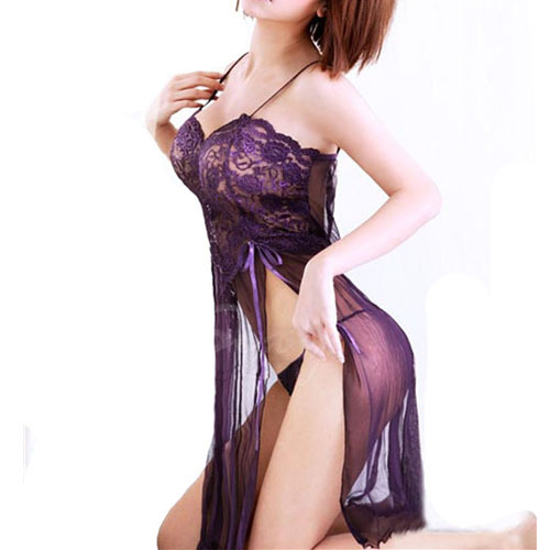 Purple/Sky Blue/Wine Sexy Lingerie Style Ladies Robes Night Gown Nightwear Sexy Underwear Long Dress(China (Mainland))