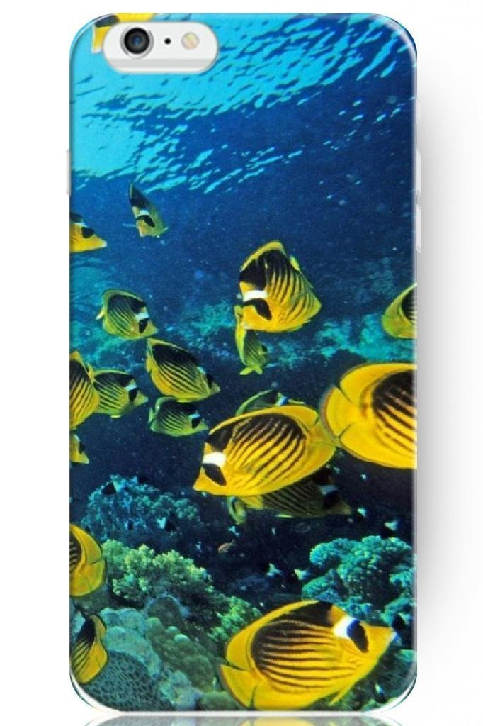 New Classic Charming Design Personalized Hard Plastic Snap on Slim Fit Deep Ocean Yellow Fishes 5.5 Inch for iphone 6 plus Case(China (Mainland))