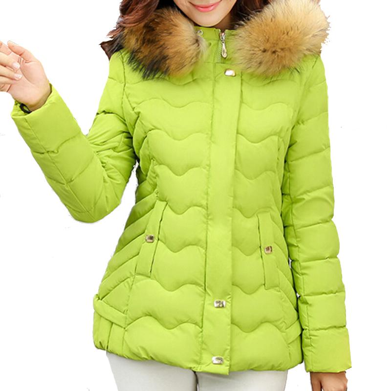 Winter Jacket Women 2015 New Warm Candy Color Plus Size Slim Style Artficial Fur Hooded Collar Long Sleeve Parka Manteau Femme