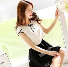 2015 Summer Korean Style Casual Fashion Chiffon Women two piece outfits  Slim Short Sleeved White Black Stitching  Lace Dresses