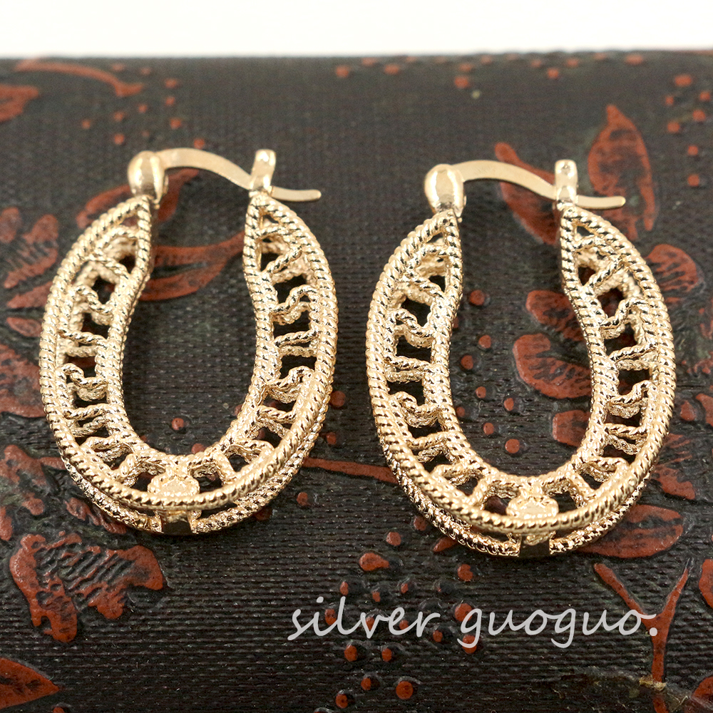 2015 Vintage 18K Gold Hoop Earrings for women Small hoop earrings Fashion Jewelry Round Basketball Wives Earrings h59z(China (Mainland))