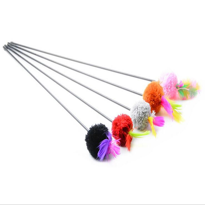 2016 Hot Sale Fantastic Pet Cats Playing Feather Toys CatsJumping Train Aid Tool Feather Toy Feather color funny cat stick(China (Mainland))