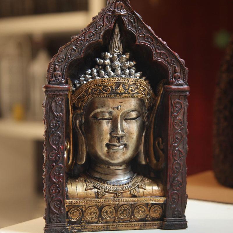 Southeast Asian style, arts and crafts, Buddha statue, Buddha head, ornaments, resin decoration, buddhist, buddhism figurine~(China (Mainland))