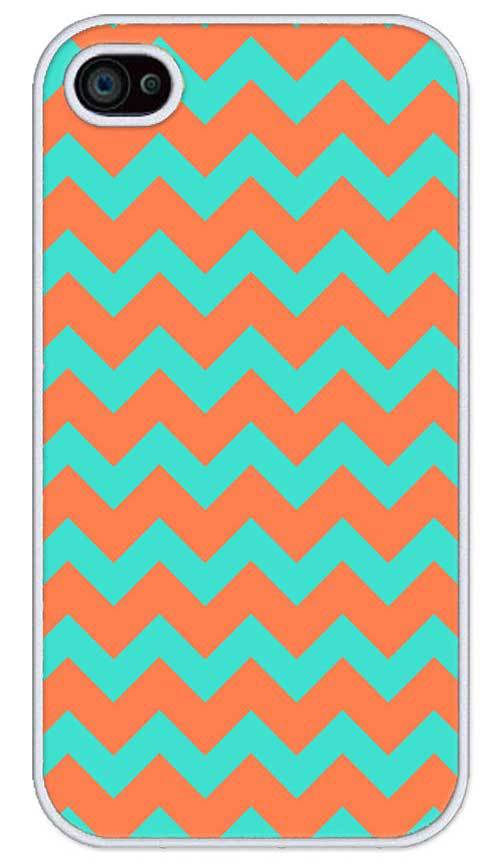 Free Shipping Chevron Pattern Turquoise Coral Cell Phone Cover Cases for Apple iPhone 4 and 4s Case(China (Mainland))