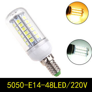 High power E14 9W 5050 SMD 48 Leds AC220V Led Light Corn Bulb Lamp Crystal Candle Chandelier Lighting - Hua Shang Tripod CO., LTD store