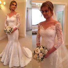 Buy Vestidos De Noiva Long Sleeve Lace Mermaid Wedding Gown New White Ivory Wedding Dresses Train Bridal Gown for $168.80 in AliExpress store