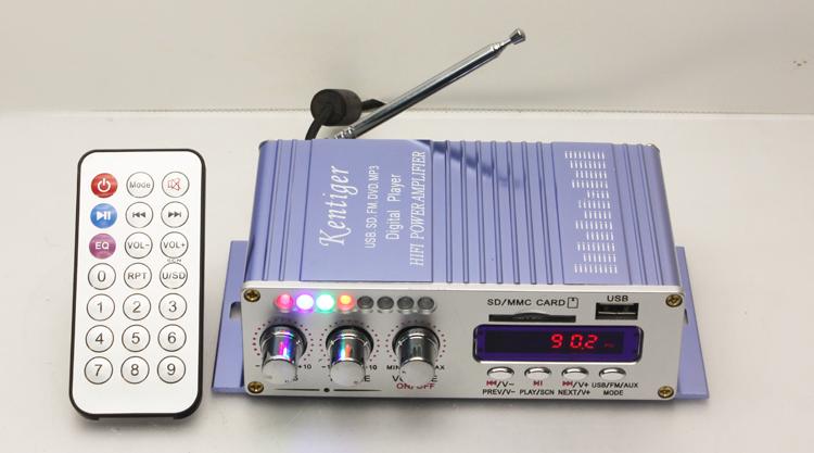 Sd usb flash drive fm radio digital display colorful flasher 12v small amplifier free shipping(China (Mainland))