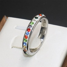 new style fashion jewelry colorful zircon inlay stainless steel casual ring for women accessories party men ring for female