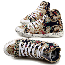 Hot! Winter 2015 New Flower Casual Shoes Men's Canvas Shoes With Zipper Breathable Fashion Leisure Shoes Shoes(China (Mainland))