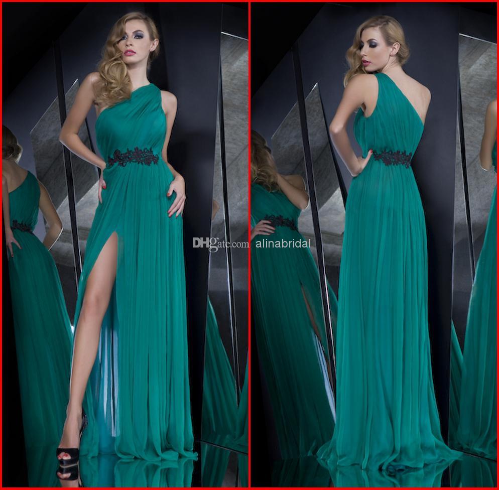 New 2016 Cheap Evening Dresses One Shoulder A Line Maxi Long High Side Slit Appliques Party Gowns Vestidos de Fiesta 2016 QA-178(China (Mainland))