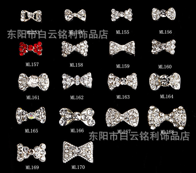 2015 NEW  Latest  2000pcs/lot Wholesale metal crystal butterfly bow nail decoration diy nail art charms #ML30513-3652<br><br>Aliexpress