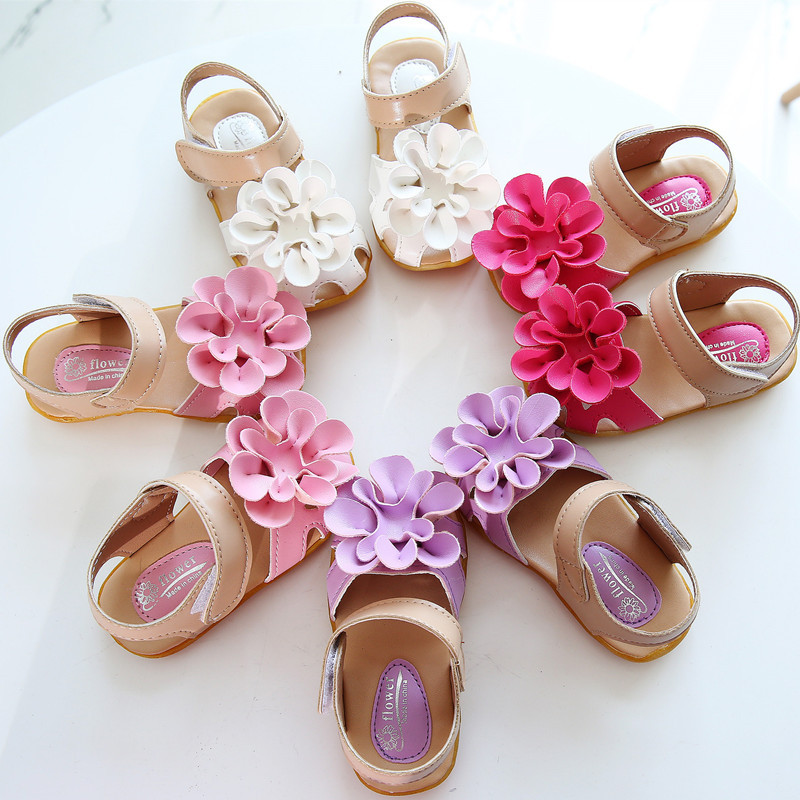 free shipping 2015 Summer Children sandals for girls Kids flower shoes PU casual sneakers First walkers