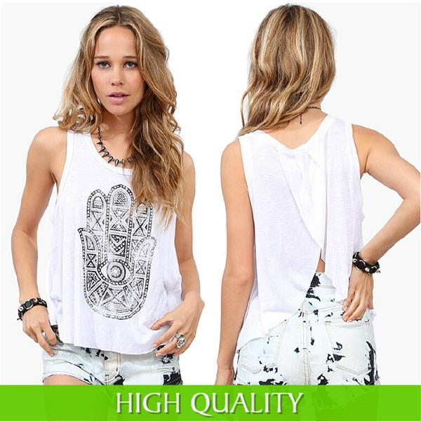 Tops 2015 New Summer Tshirts Women Tank Top O-Neck Sleeveless Khamsa Printed Camisoles Slim Fit Cotton Shirt Hollow Plus Size - Guangzhou Pretty Queen Clothing co.,LTD store
