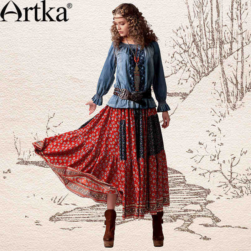 Artka Womens Lylia Summer Collision Color Ethnic Print Patchwork Drawcord Cinched Waist Maxi Pleated Swing Hem Skirt QA10541CОдежда и ак�е��уары<br><br><br>Aliexpress