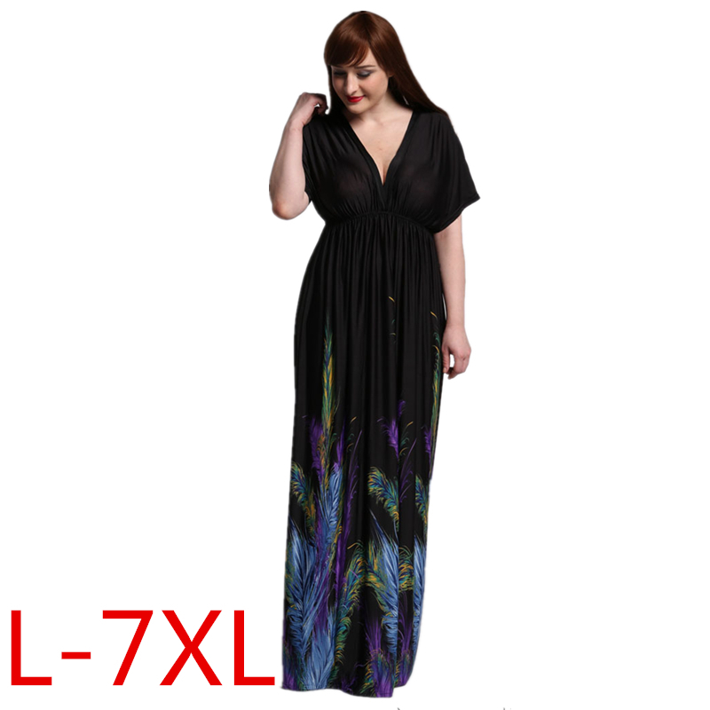 2016 New Women Summer Boho Clothing Vestidos Largos Robe Femme Bohemian Print Beach Maxi Long Dress Plus Size 6XL 7XL(China (Mainland))