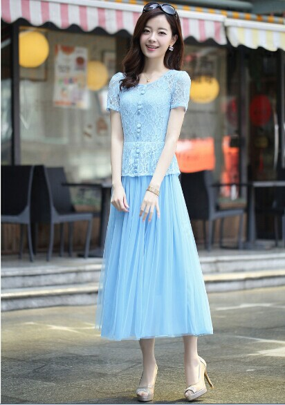 Girl Fashion Stitching Lace Two hollow sham Pleated Dress Одежда и ак�е��уары<br><br><br>Aliexpress