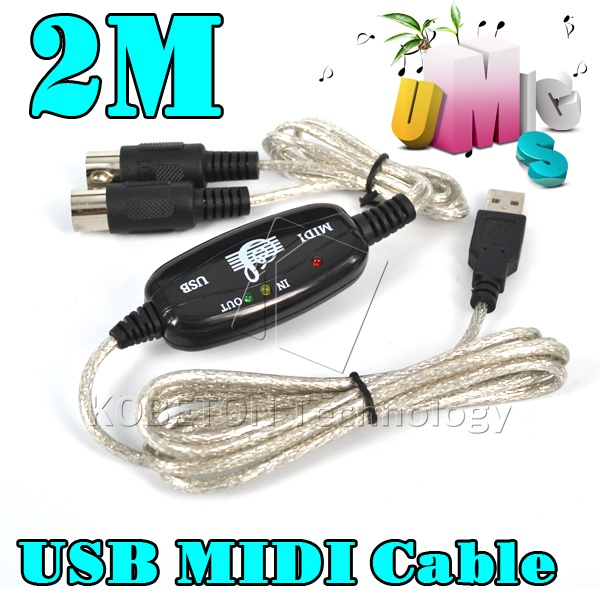 Hot 2M MIDI USB Cable Adapter PC to Music Keyboard Converter for PS2 Cubase Cakewalk Computer XP 7 8(China (Mainland))