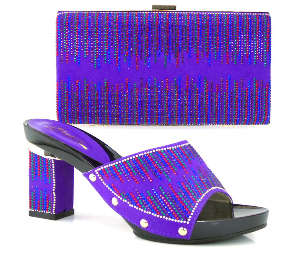 TH16-37 Purple Beautiful Design Indian Bridal Shoes And Matching Bag For Women Low Heels With Crystal Purse!(China (Mainland))