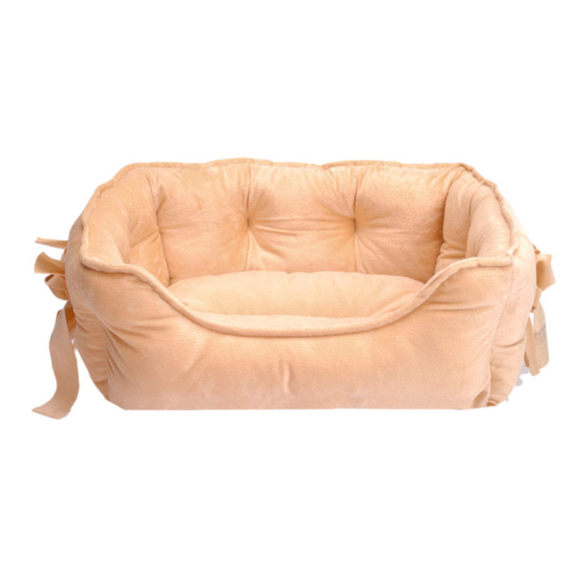 4 Colors Bow Princess Pet Dog Bed Soft Fleece Cat House Winter Warm Small Puppy Bed 48*38cm(China (Mainland))