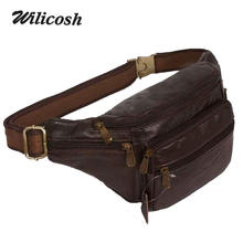 2015 new style!genuine leather men's multifunction travel bags funny chest pack men waist pack hiqh quality men waist bag DB4010(China (Mainland))