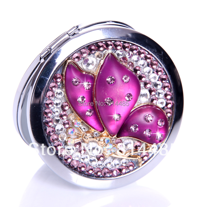 Beautiful purple butterfly pocket mirror portable double dual sides stainless steel frame cosmetic mirror makeup mirrors(China (Mainland))