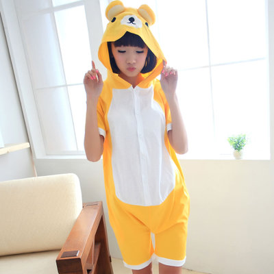 Women Men Summer Short sleeve High Quality Adult Kigurumis Cute Cotton Rilakkuma Pajamas Animal Onesie Cosplay Costume Sleepwear(China (Mainland))
