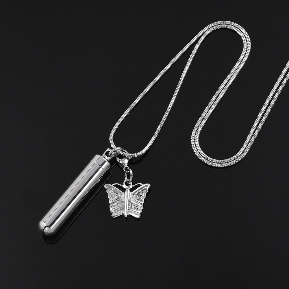 IJD9868 Pet Memorial Urn Jewelry Blank Stainless Steel Cylinder Cremation Pendant With Butterfly Charm Keepsake Necklace For Ash