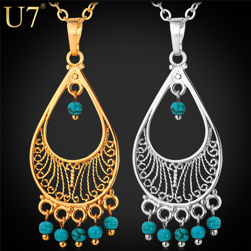 Turquoise Bohemian Necklace Women Accessories 18K Gold/Platinum Plated Fashion Necklaces For Women 2015 Turkish Jewelry P637(China (Mainland))