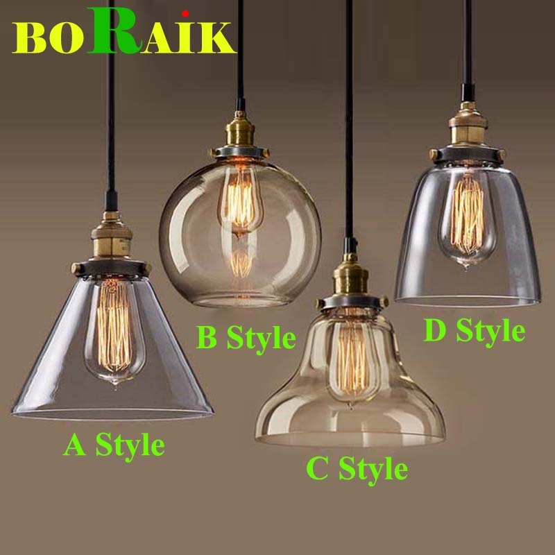Retro Vintage Pendant Lights Clear Glass Lampshade Loft Pendant Lamps E27 110V 220V for Dinning Room Home Decoration Lighting(China (Mainland))