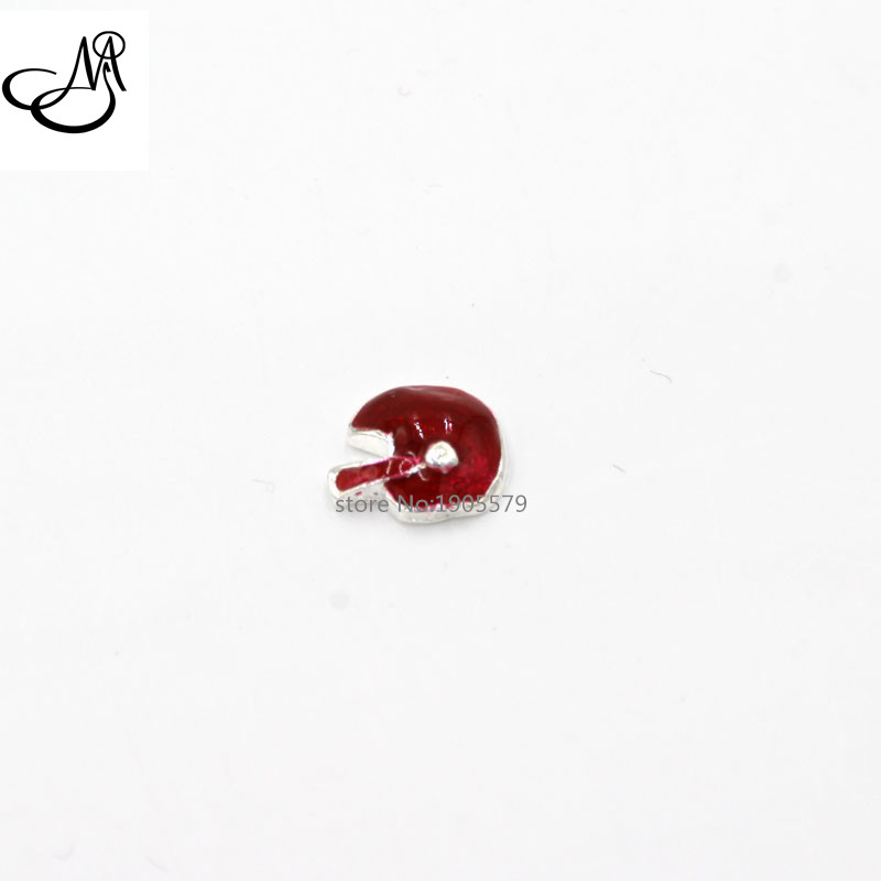New Hot sale Enamel rose red Football Helmet Floating Charms for glass locket! MFC2053(China (Mainland))