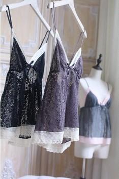 H08 мода сексуальные кружева глубоко-v бантом Sleepwears Nightwears пижамы комплект
