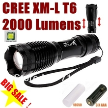 AUTHENTIC100% E007 CREE XM-L T6 2000LM led Torch Zoomable cree LED Flashlight Torch light For 3xAAA or 1x18650 rechargeable (China (Mainland))